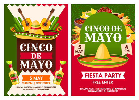 Mexican Cinco de Mayo holiday party vector posters