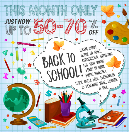 Back to school sale discount offer poster design