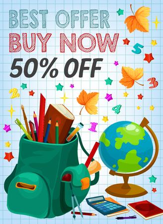 Back to school supplies sale banner, retail design