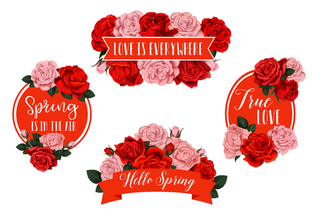 Vector spring holiday flowers and floral icons