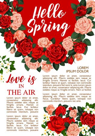 Vector rose flowers poster for springtime season