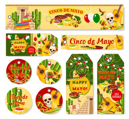 Cinco de Mayo Mexican holiday fiesta vector tags Zdjęcie Seryjne - 96278638
