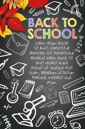 Welcome Back to School black chalkboard poster. Vector design template of school bag, book or paint brush and notebook or ruler and September autumn maple or oak leaf on or chalk blackboard