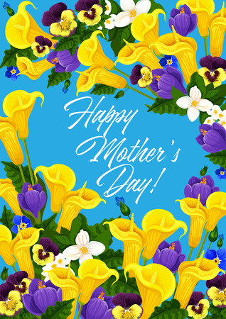 Mother Day holiday flowers vector greeting card