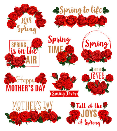 Spring mood icon set isolated on plain background. Illustration