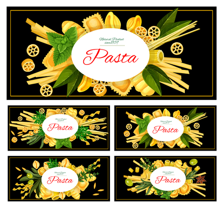 Different Italian pasta vector isolated on plain background.  イラスト・ベクター素材