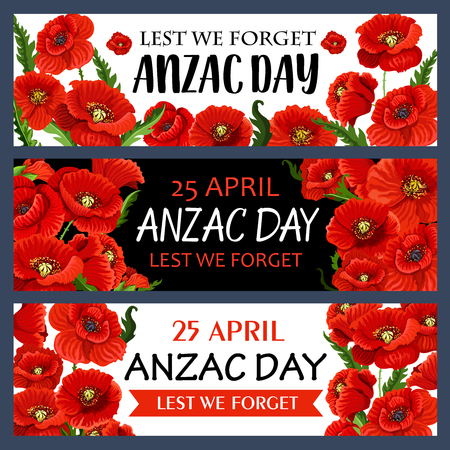 Anzac Day 25 April poppy flowers vector banners