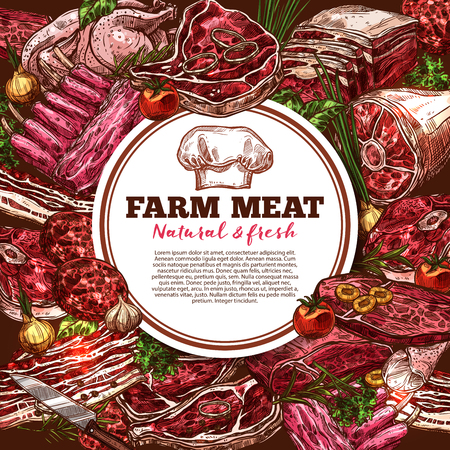 Fresh meat vector poster isolated on plain background.