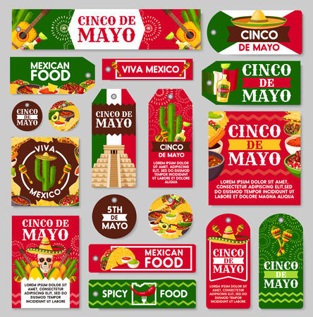 Mexican Cinco de Mayo holiday tag and label set. Fiesta party sombrero hat, maracas and chili pepper or jalapeno, tequila margarita, cactus and Mexico flag, food and guitar for greeting card design