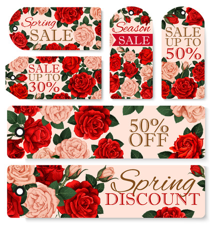 A Vector rose flowers tags for spring season sale