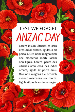 Anzac Day poppy vector Lest We Forget poster isolated on plain background. Ilustração