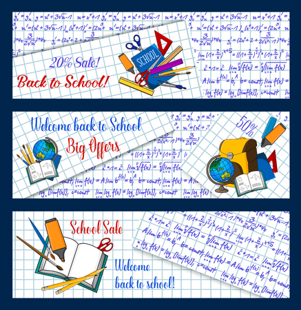 Back to School sale banners of mathematics formula on notebook checkered background. Vector web design template of school bag, geography globe or biology microscope and chemistry book stationery