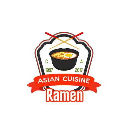 Sign for Asian cafe or restaurant isolated on plain background.