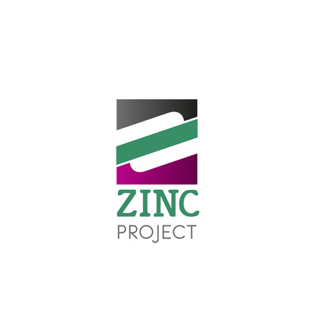 A Vector logo with symbol zink isolated on plain background.