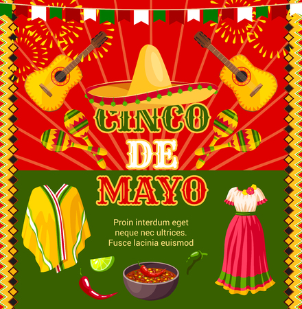 Cinco de Mayo Mexican holiday fiesta celebration greeting card of traditional sombrero and Mexican boho dress or poncho, guitar and maracas. Vector jalapeno pepper and mole for Cinco de Mayo party