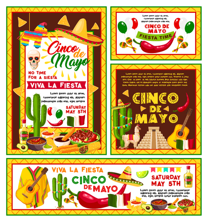 Cinco de Mayo Mexican national holiday celebration fiesta party posters. Vector banner of Mexican cactus tequila and guitar or sombrero, Mexico flags and traditional churro food with horse toy Illustration