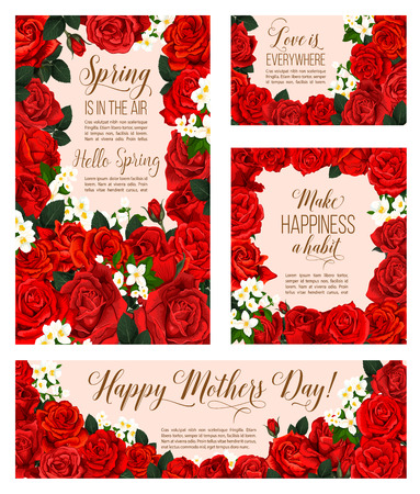 A Vector spring flowers of Mother day greeting cards