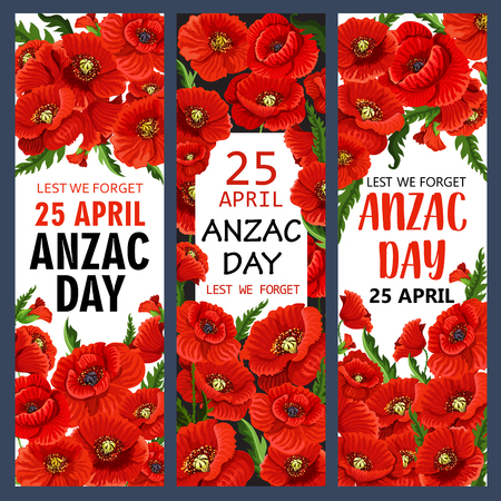 Anzac Day poppy flowers banners for Lest We Forget of Australia and New Zealand war commemoration. Vector red flowers symbols for freedom and peace or war remembrance on Australian Anzac Day