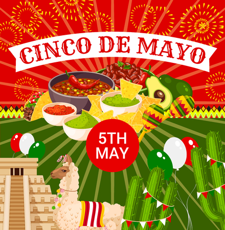 Mexican Cinco de Mayo vector fiesta poster Stock Illustratie