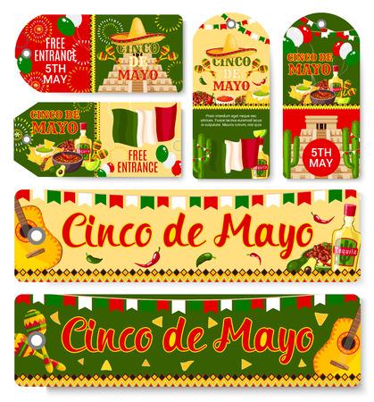 Cinco de Mayo Mexican holiday vector tags