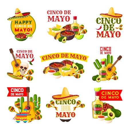 Mexican Cinco de Mayo fiesta party badge design  イラスト・ベクター素材