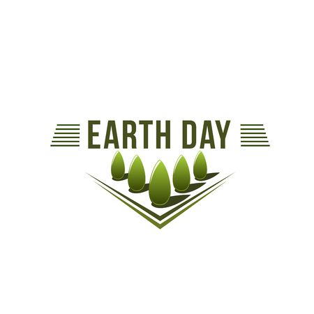 Earth Day ecology green nature trees vector icon Ilustração