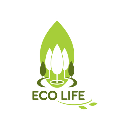 Green trees icon for eco life gardening
