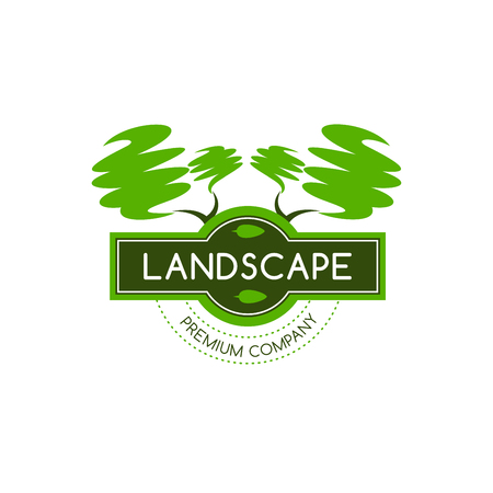 Green trees icon for landscape designing