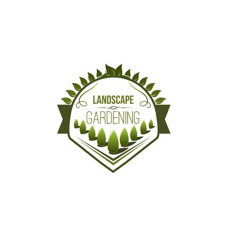Green trees planting icon for landscaping