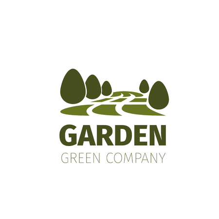Green trees forest or garden nature icon Иллюстрация