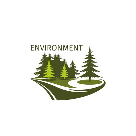 Green trees forest environment icon Ilustração