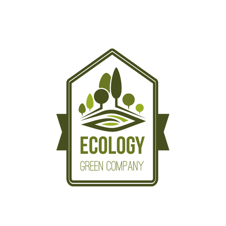 Green trees nature and ecology logo icon design