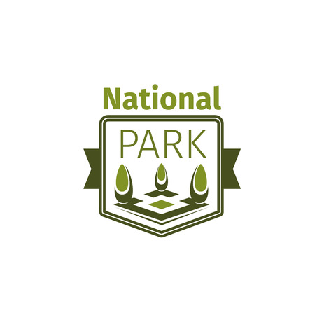 Green trees logo icon for national park Иллюстрация