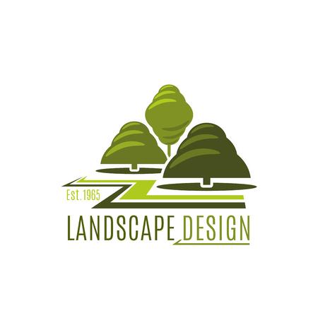 緑の木の庭の風景デザインアイコン