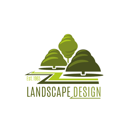 Green trees garden  landscape design icon
