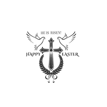 Easter cross crucifix and flying birds illustration.