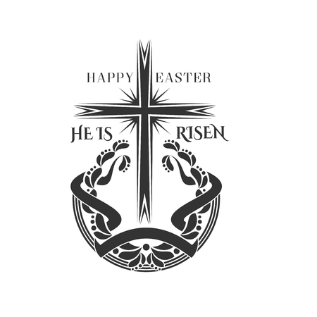 Easter cross and laurel icon