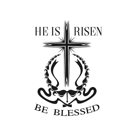 Happy Easter vector He is Risen cross icon Illustration