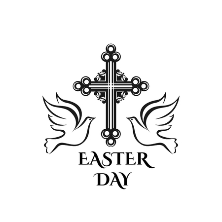 Easter Resurrection day vector cross and dove icon
