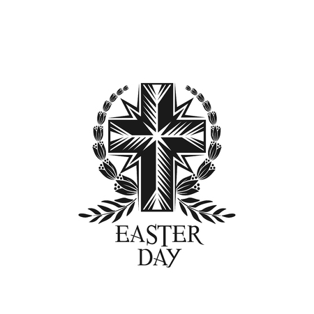 Happy Easter vector cross and laurel wreath icon