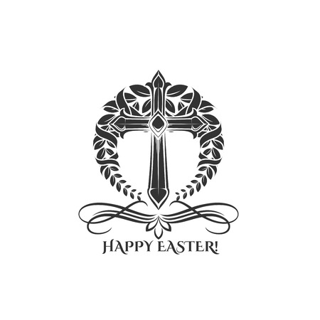 Easter day vector cross in laurel icon Illustration