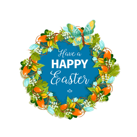 Happy Easter vector floral greeting card