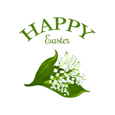 Happy Easter vector floral lily bunch icon Illustration