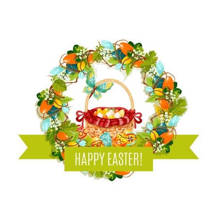 Happy Easter vector eggs and basket greeting card