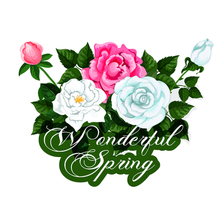 Spring time vector icon of seasonal roses flowers Illustration