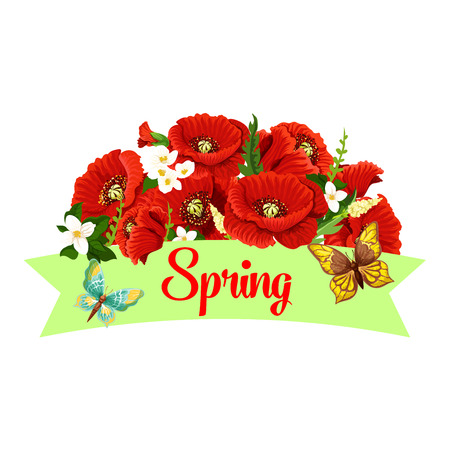 Spring time season poppy flowers vector icon