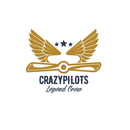 Air pilots team retro vector airplane icon Illustration