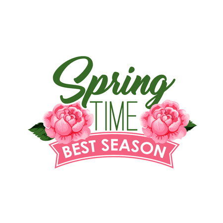 Spring time season roses flowers bunch vector icon