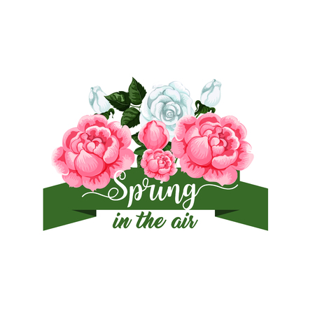 Springtime rose flowers vector spring time icon