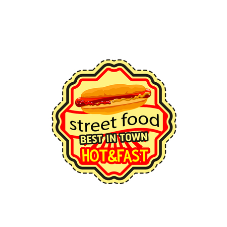 Vector fast food restaurant hot dog icon Illustration